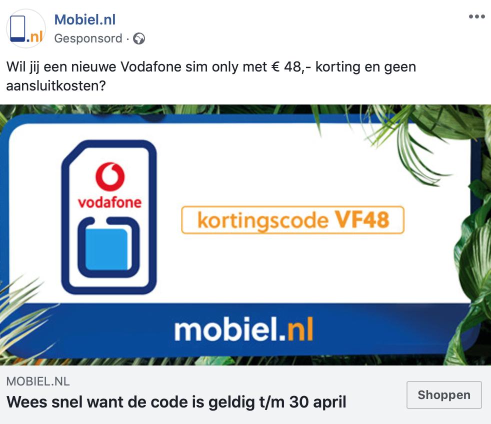 Bij Mobiel.nl 48 euro korting en geen aansluitkosten bij een Vodafone sim-only