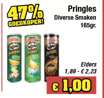 Pringles €1 per bus, 2 pakken la vache qui rit voor €1 en meer koopjes bij Budgetfood