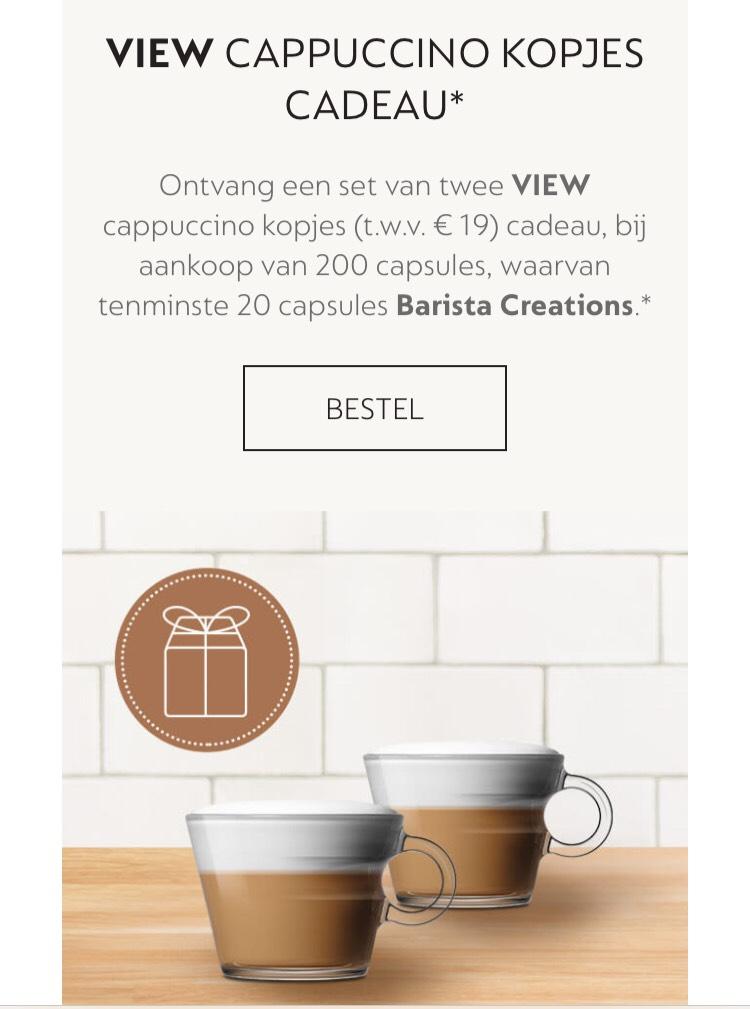 Gratis set van 2 VIEW Nespresso cappuccino kopjes t.w.v. € 19,- bij aankoop van 200 Nespresso cups