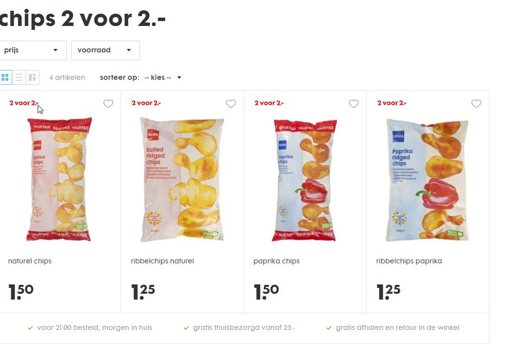 chips 2 zakken voor 2 euro bij HEMA