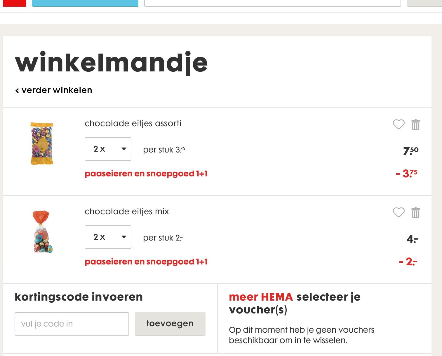 Nu Paas eieren en snoepgoed 1+1 online@Hema