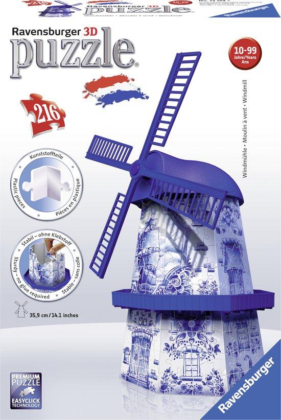 Ravensburger 3D puzzel: Windmolen Delftsblauw €4,99 @ BOL.com