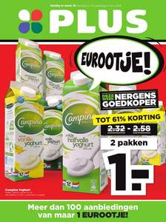 Plus: 2 pakken Campina yoghurt voor €1