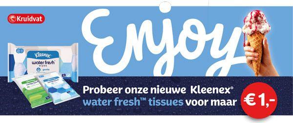 Nieuwe, vochtige Kleenex voor 1 euro bij Kruidvat.