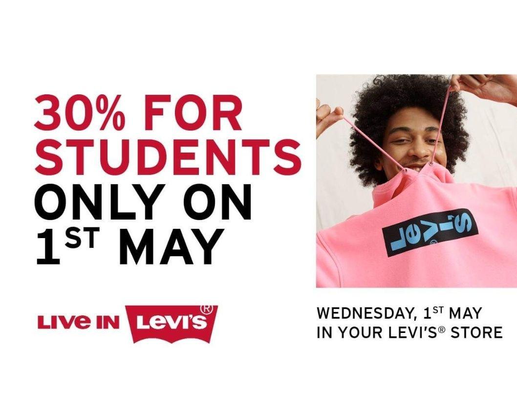 Levi's 30% korting voor studenten in winkels