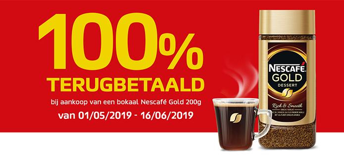 [Grensdeal België]  100% terugbetaald bij aankoop van een bokaal Nescafé Gold 200g