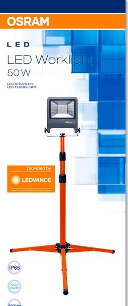 Osram LED Werklamp op tripod. 4500 Lm. IP65. 30eur.  -32%.