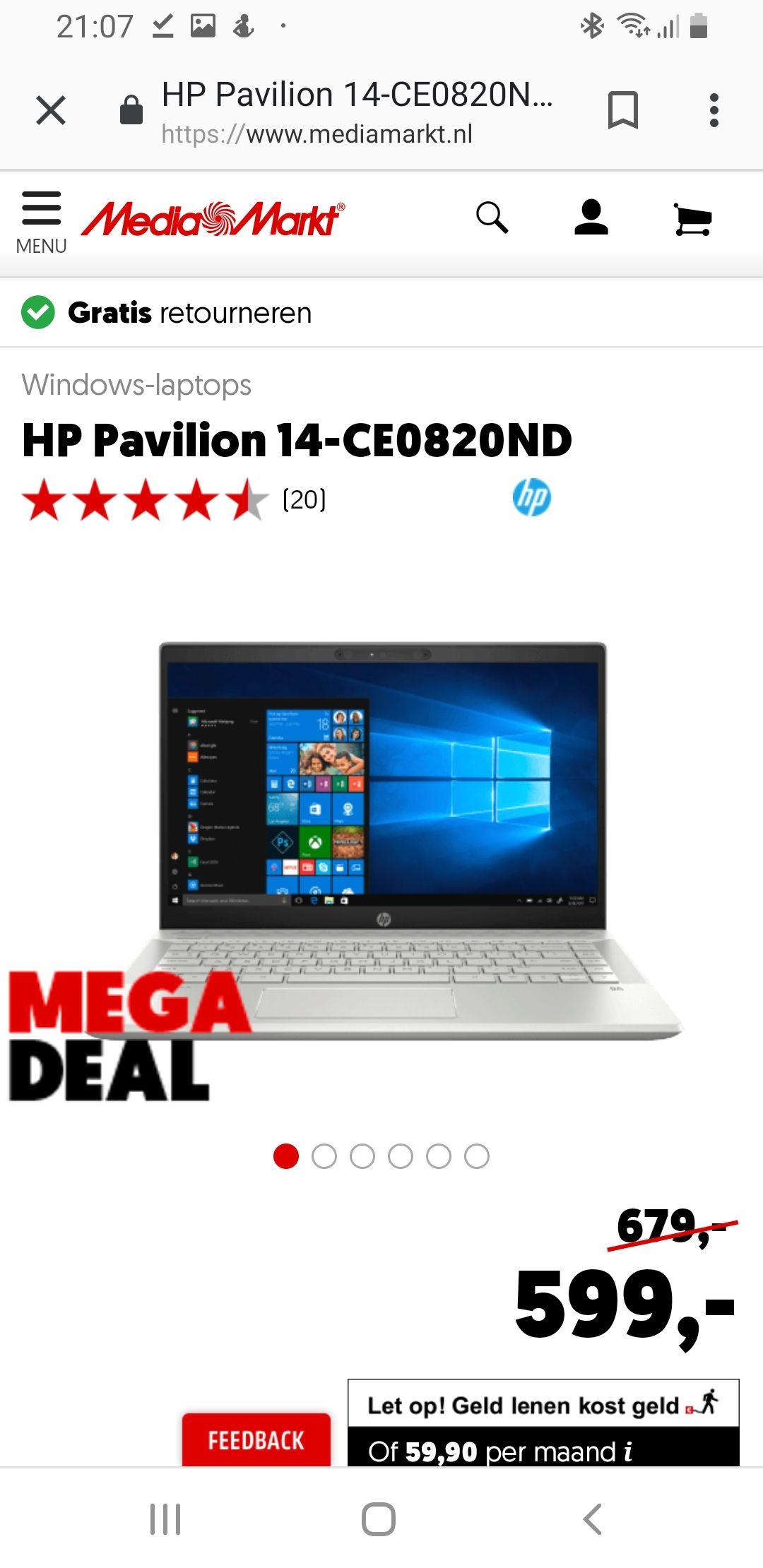 Hp pavilion 14 inch laptop normaal 679 nu 599