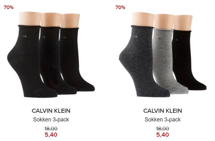 3-pack Calvin Klein sokken €5,40 @ Hudson's Bay
