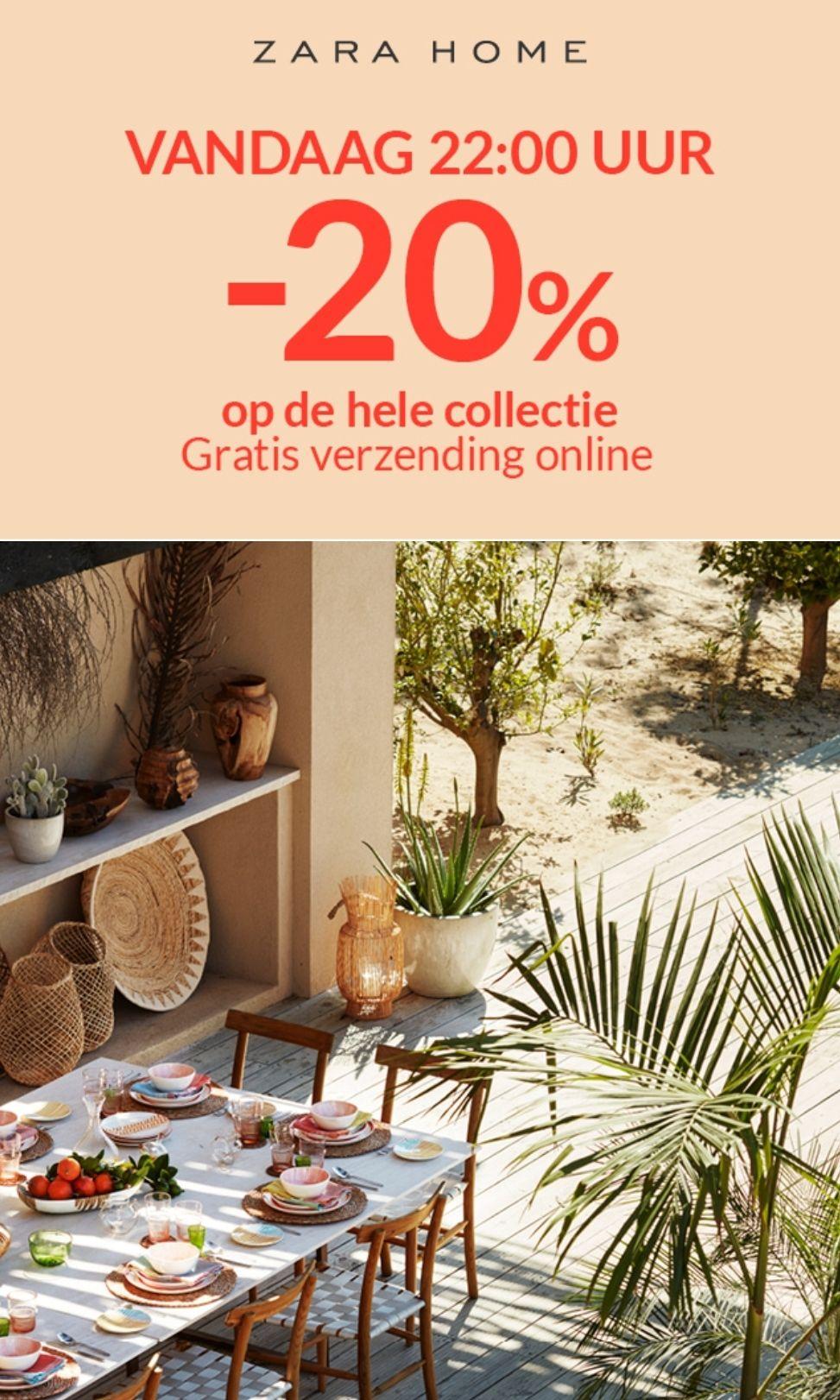 Vanavond 20% korting op de hele collectie +gratis verzending bij Zara Home