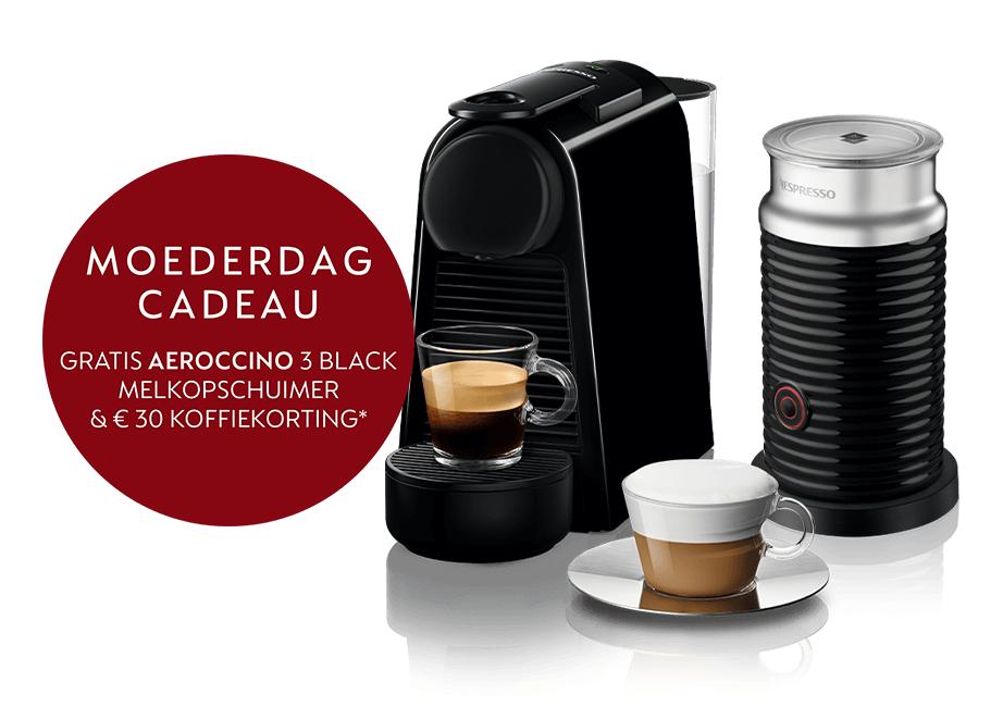 Gratis 30 euro koffie tegoed + Aeroccino 3 black twv 70 euro cadeau