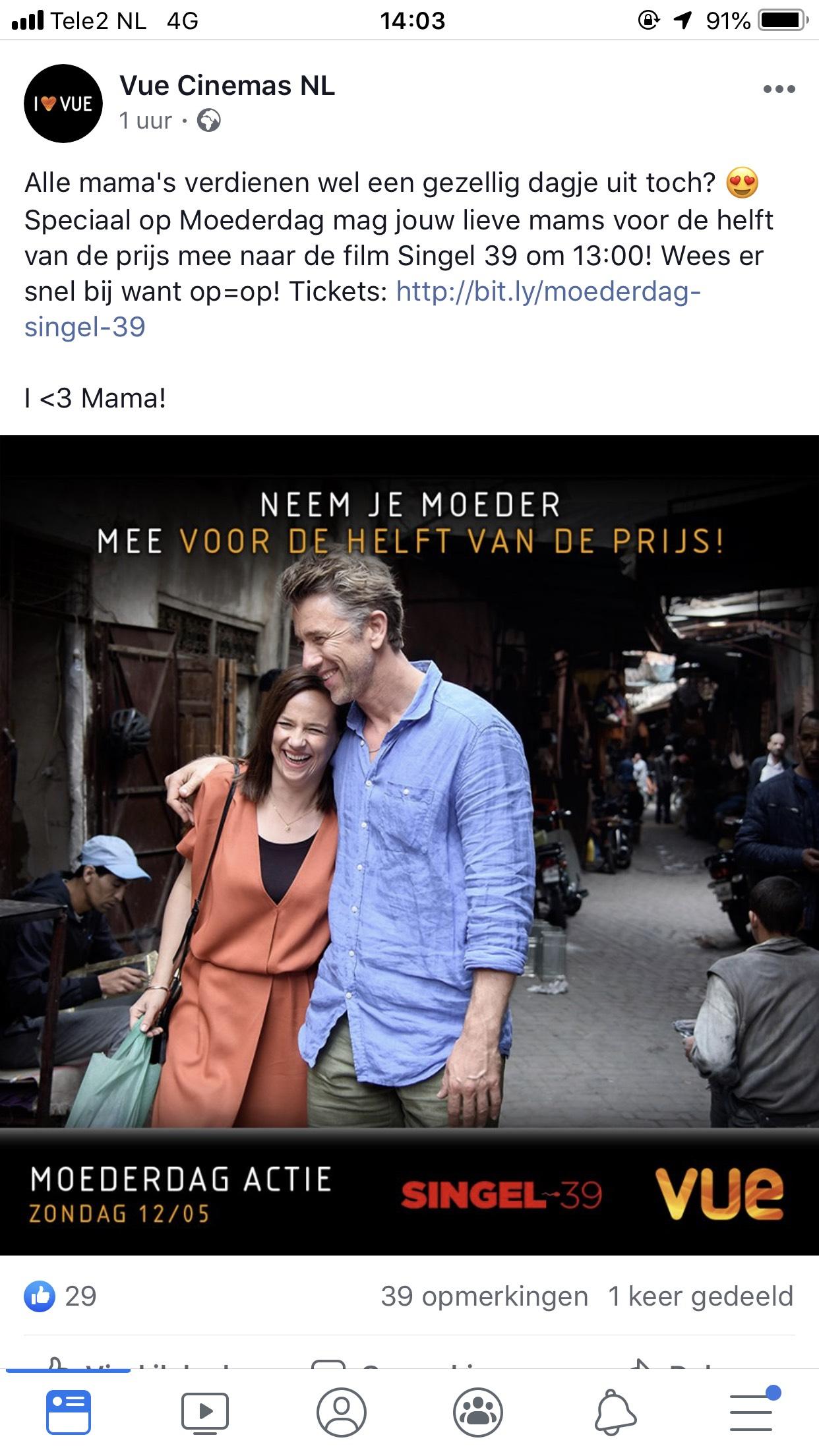 Al vanaf €2,50 voor 1 ticket! Neem je moeder op moederdag voor 50% mee naar de film single 39 @ vue.