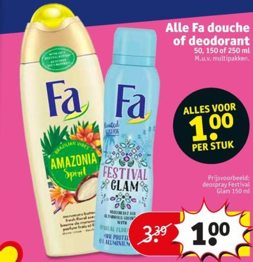 Alle Fa Douche of Deodorant voor €1 ( tot 75% korting ) @Kruidvat
