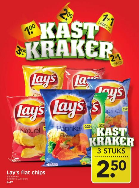 Lay's Flat Chips - 3 zakken a 225 gram nu €2.50 i.p.v. €4.47 @Emte