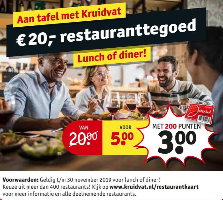 €20 restauranttegoed voor €5 of €3 met 200 punten @ Kruidvat