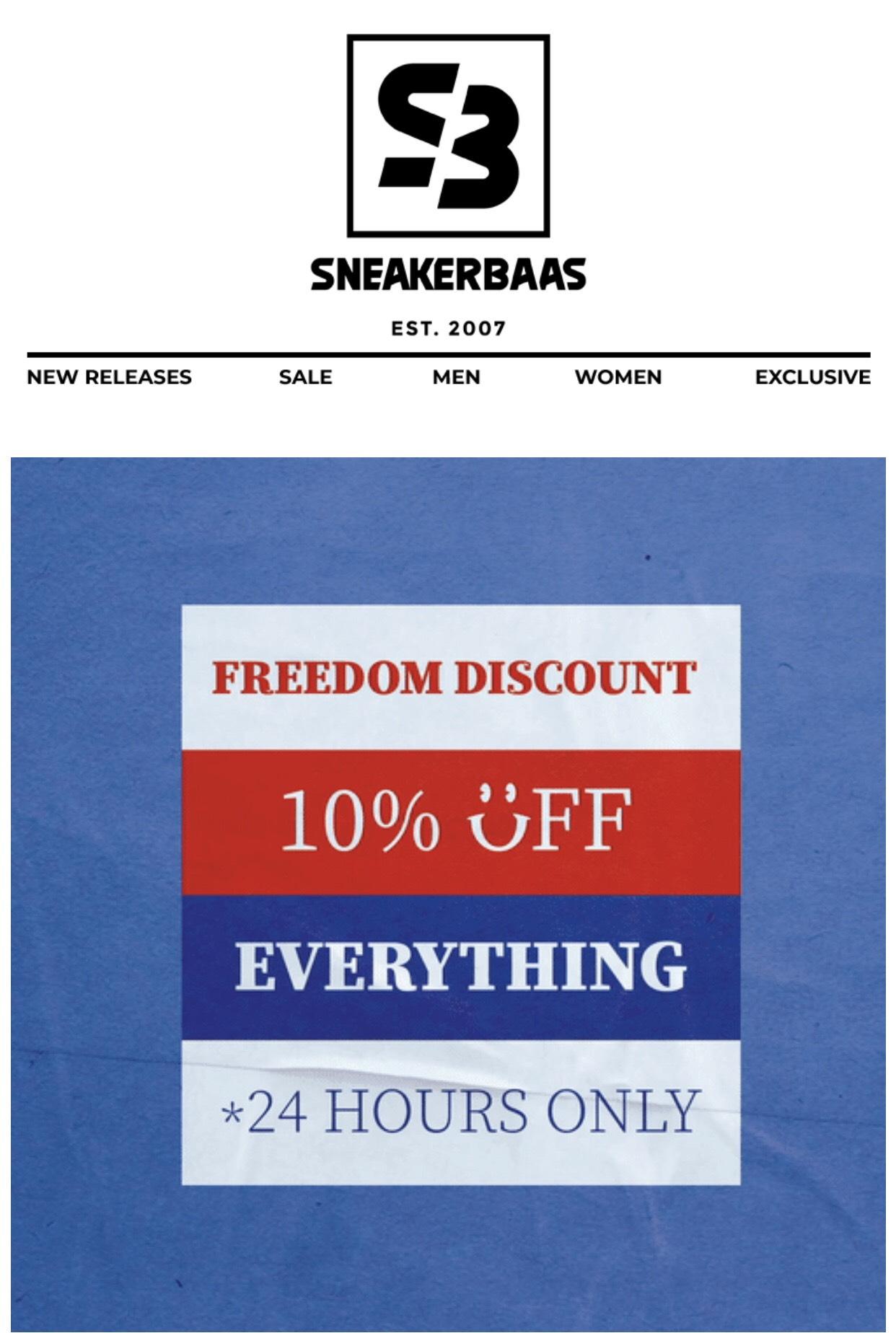 10% korting op alles bij Sneakersbaas!
