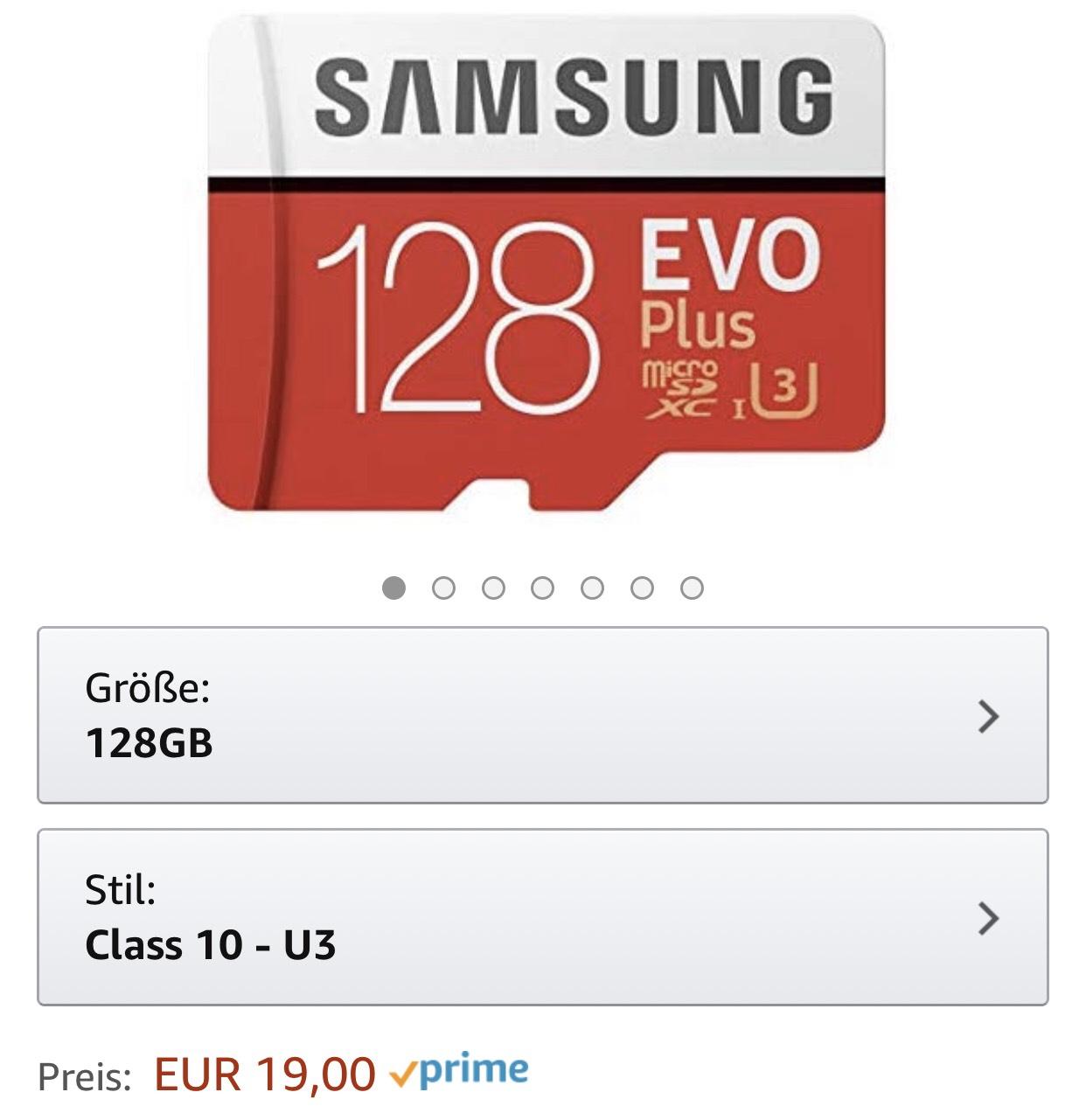 Samsung EVO plus 128gb klasse 10, u3 microsd