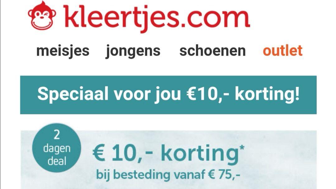 Kortingcode voor € 10 korting bij besteding vanaf € 75