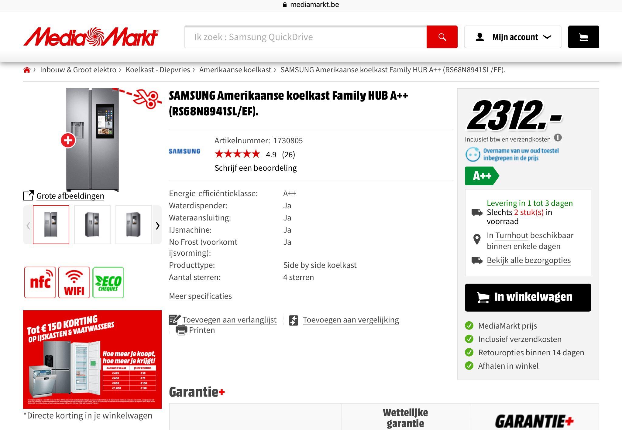 (Grensdeal België) Amerikaanse Koelkast Samsung RS68N8941SL