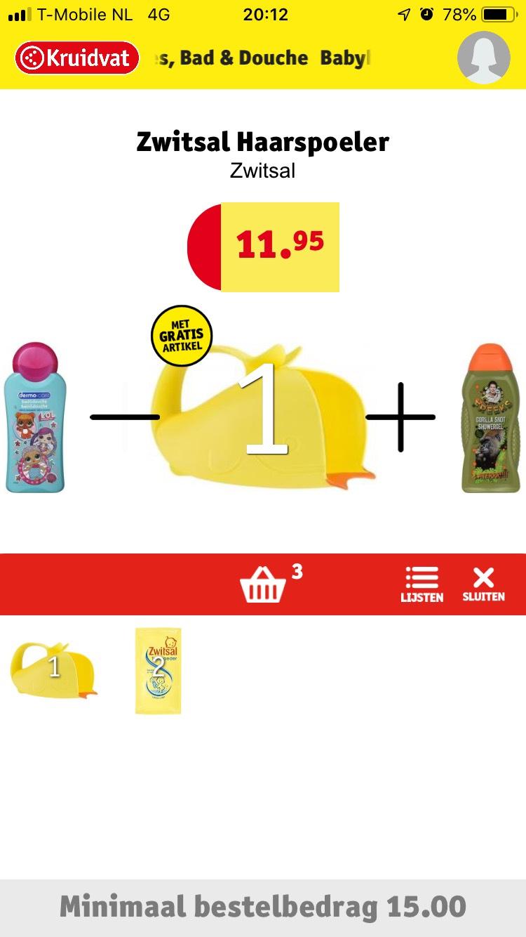 Gratis Zwitsal haarspoeler en kruidvat waterfles bij 2 producten