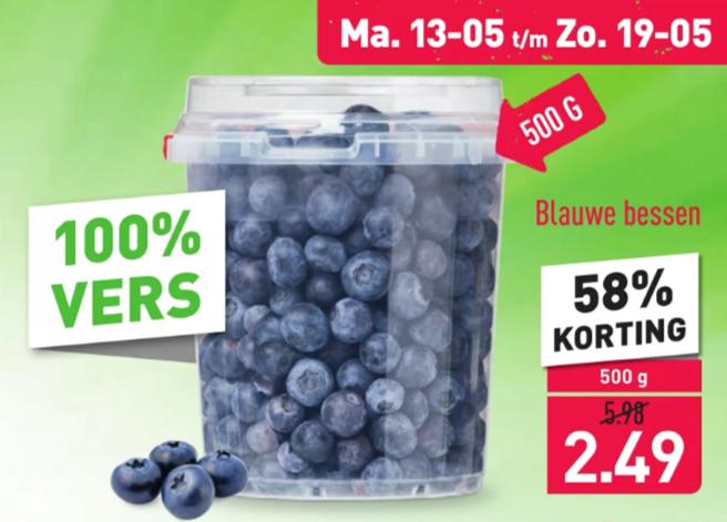 Blauwe bessen 500 gram - 58% korting @Aldi