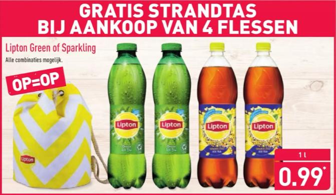 Lipton Ice Tea nu €0.99 voor 1liter en gratis strandtas bij aankoop van 4 flessen @Aldi