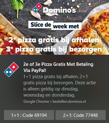 Domino's Pizza 1+1 (Afhalen, betalen met Paypal)