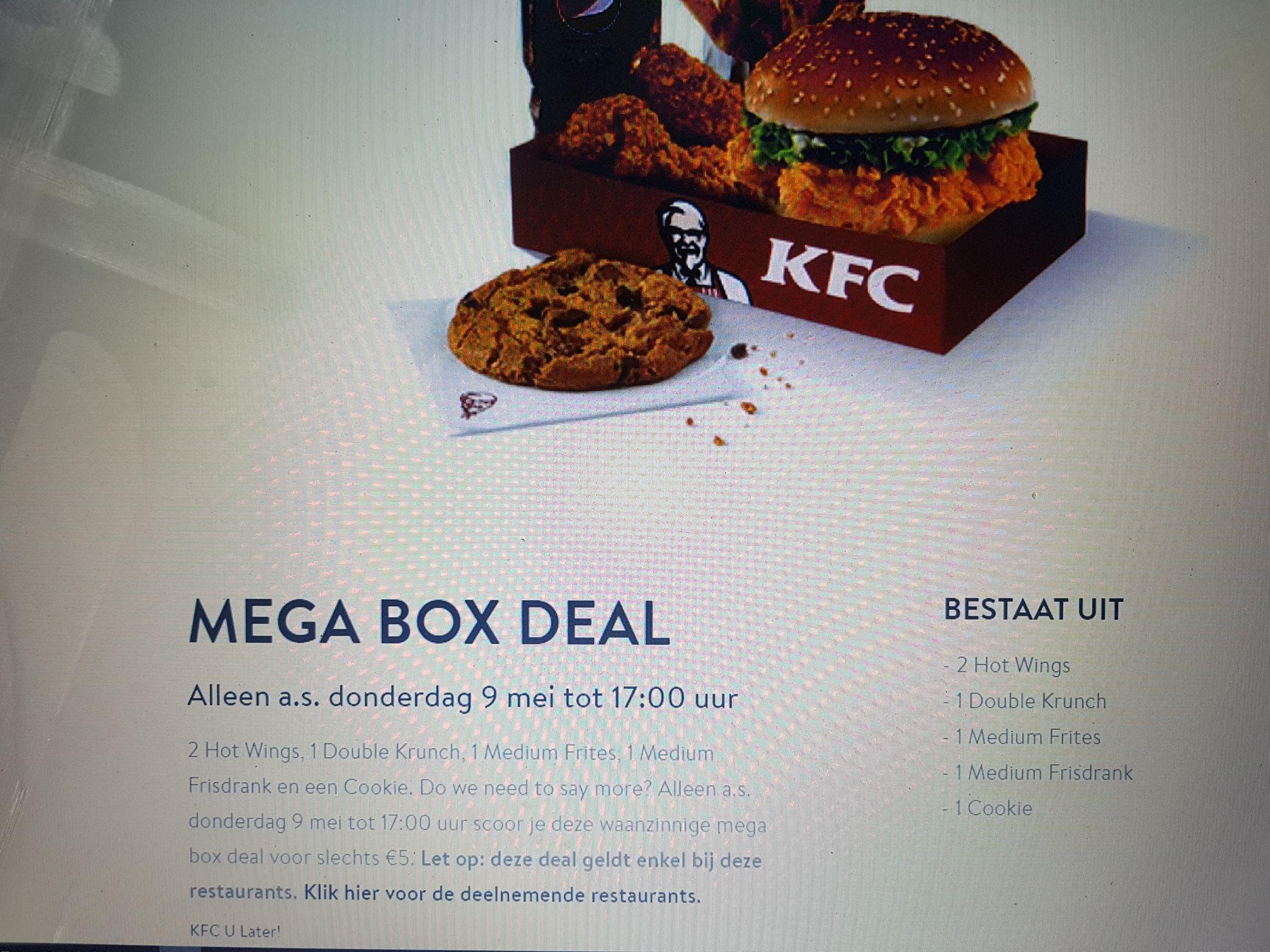 [Lokaal!] Kfc mega box deal. Alleen a.s. donderdag 9 mei