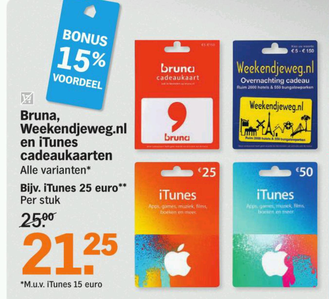 15% korting op Weekendjeweg, Bruna en iTunes  cadeaukaarten @ AH (maandag)