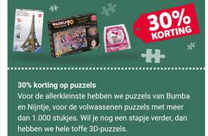 30% korting op alle puzzels @ Intertoys