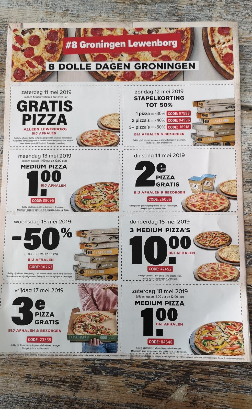 Gratis pizza, 50% korting en meer bij Domino's Groningen