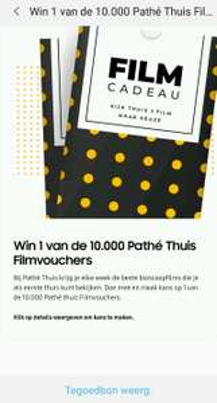 10.000 gratis Pathé Thuis filmvouchers @ Samsung Members