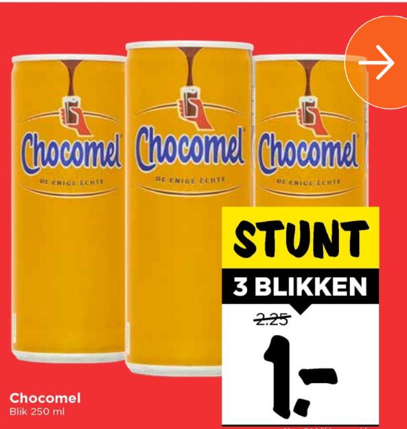 3 blikjes chocomel voor € 1,-  Normaal € 2,25 @ Vomar