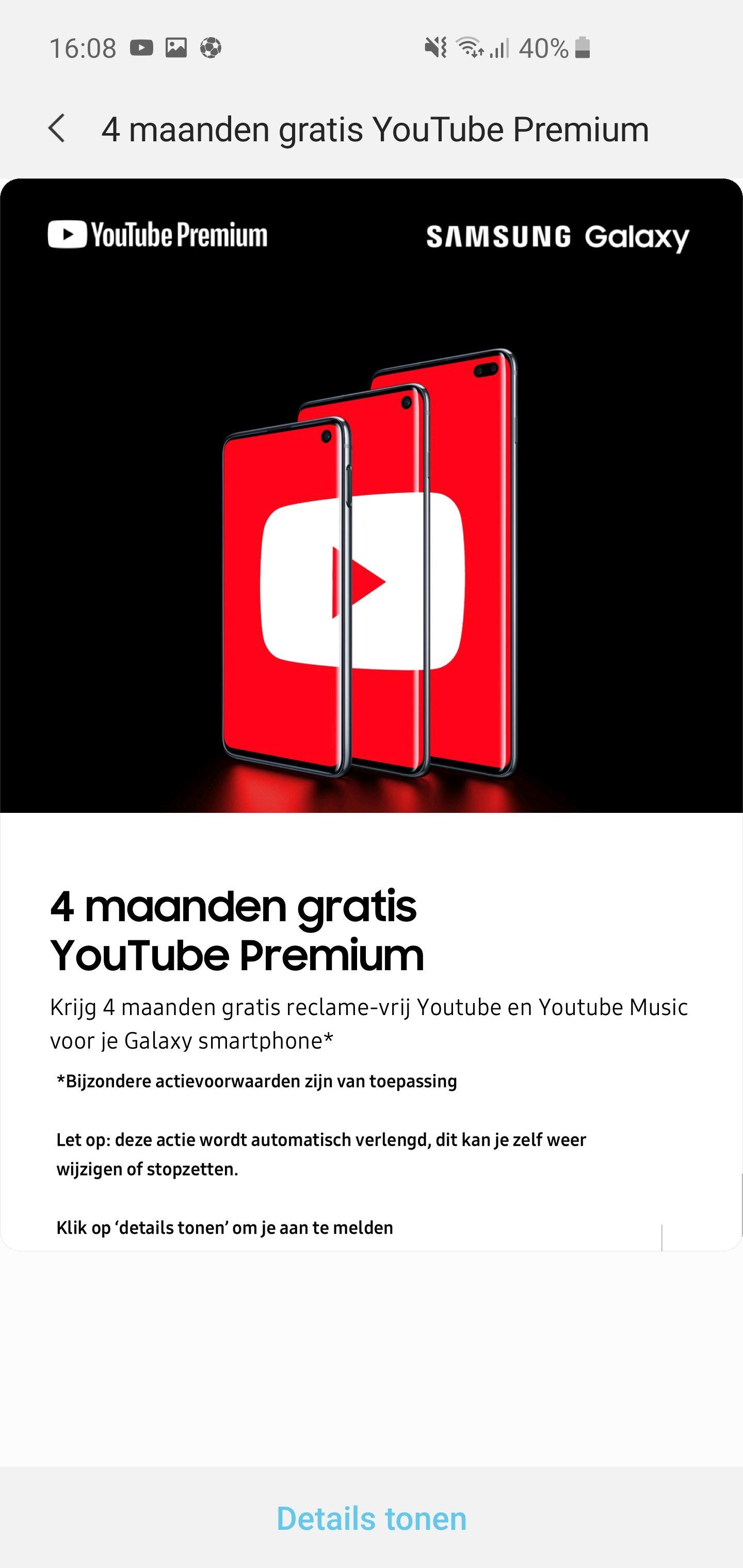 4 maanden GRATIS YouTube Premium (met S10) @ Samsung Members App.