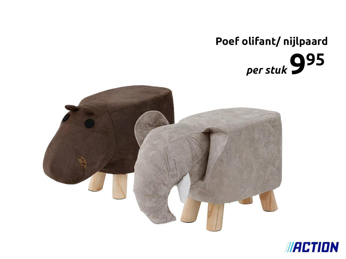 Poef nijlpaard / olifant €9,95 @ Action