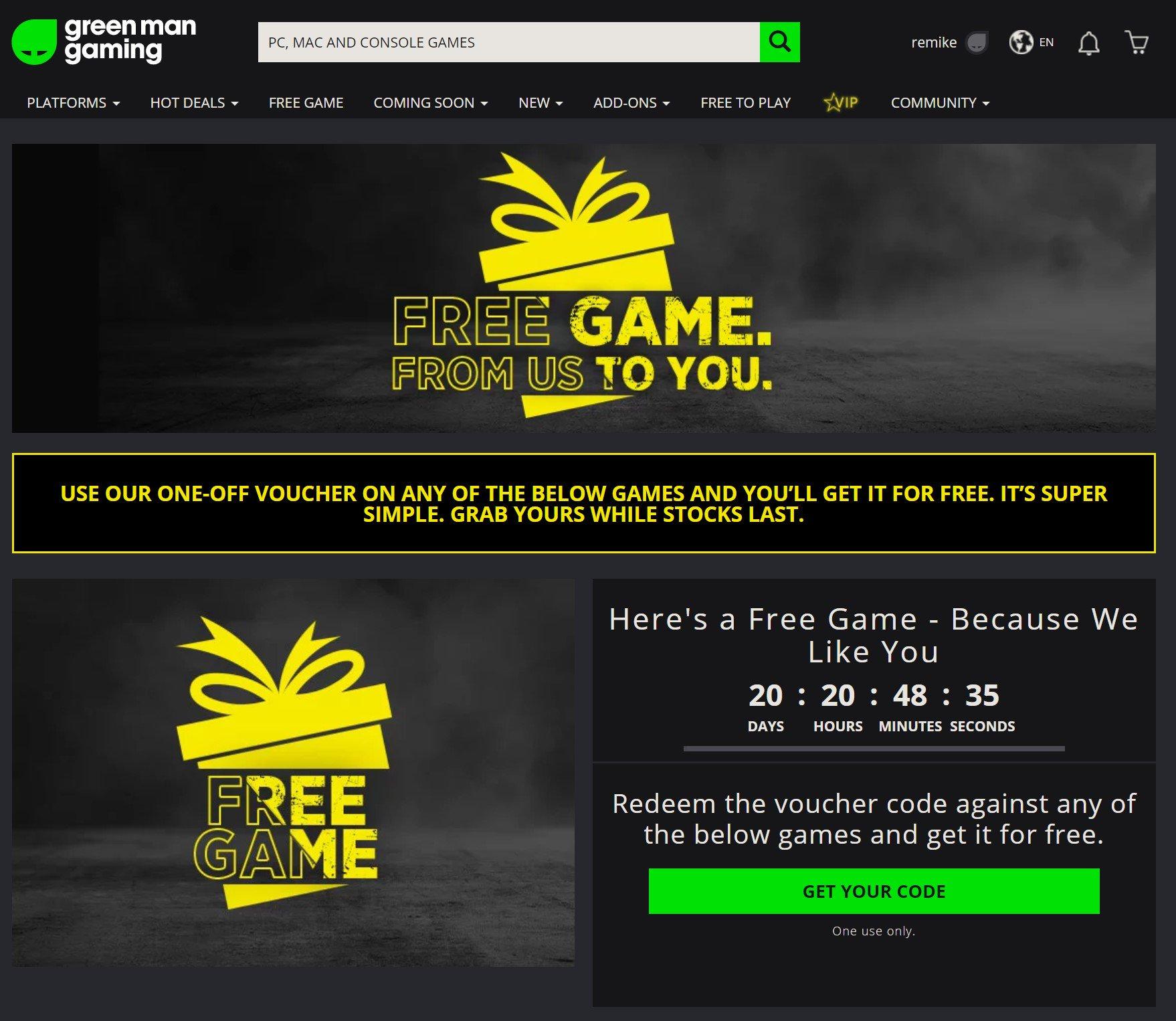 Gratis Steam key @ Green Man Gaming