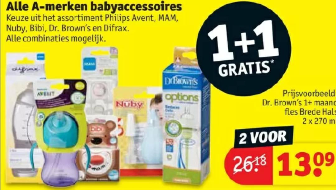 1+1 op alle a merk baby accessoires