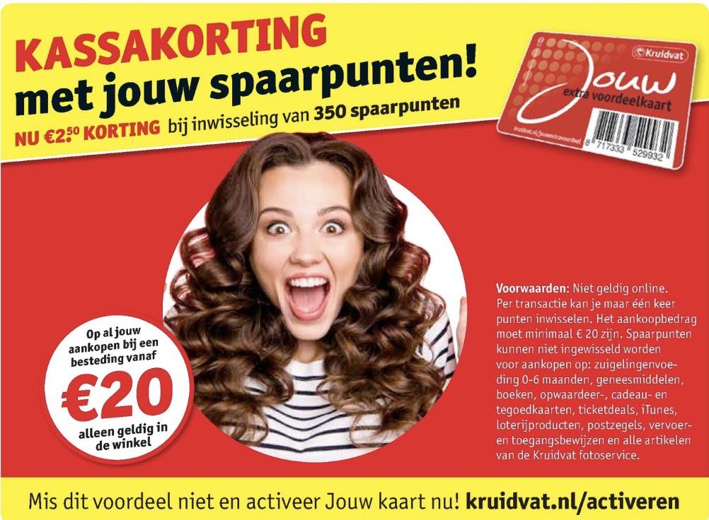 €2,50 korting bij besteding vanaf €20 én 350 punten @Kruidvat