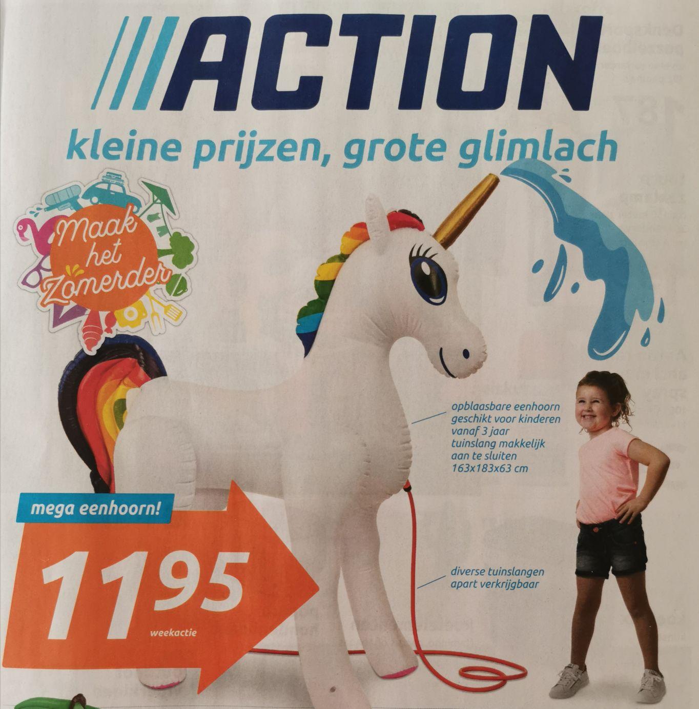 Mega opblaasbare eenhoorn die water uit de hoorn kan spuiten voor € 11,95 @action