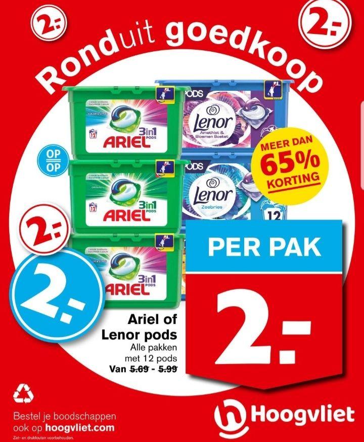 @Hoogvliet, 3in1 Ariel of Lenor pods 12st voor €2