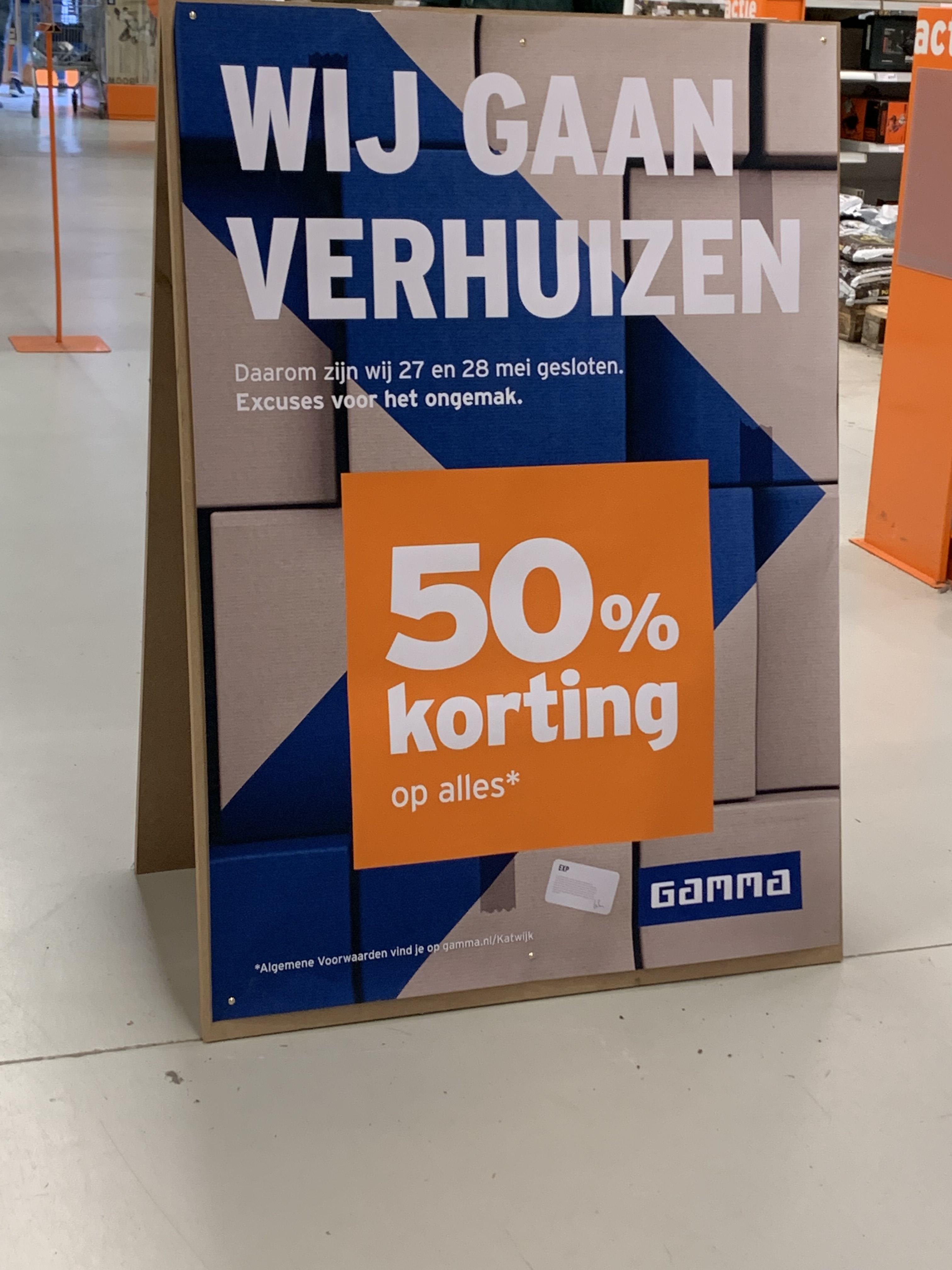 Lokaal gamma Katwijk 50% korting op alles!