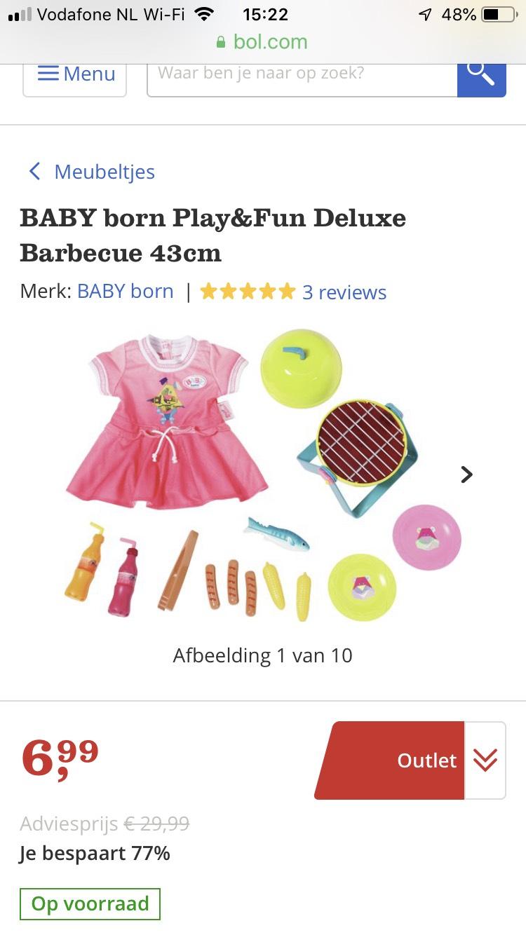 Bbq speelser voor de baby Born