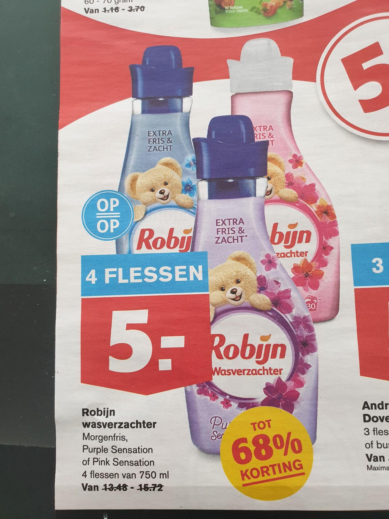 Robijn wasverzachter 4 flessen voor 5 euro bij Hoogvliet!