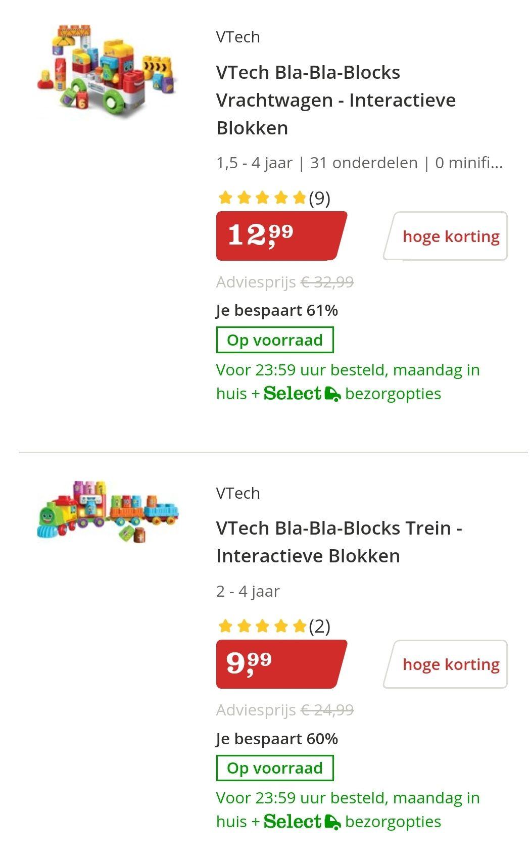 Hoge korting op Vtech Bla Bla Blocks bij Bol.com