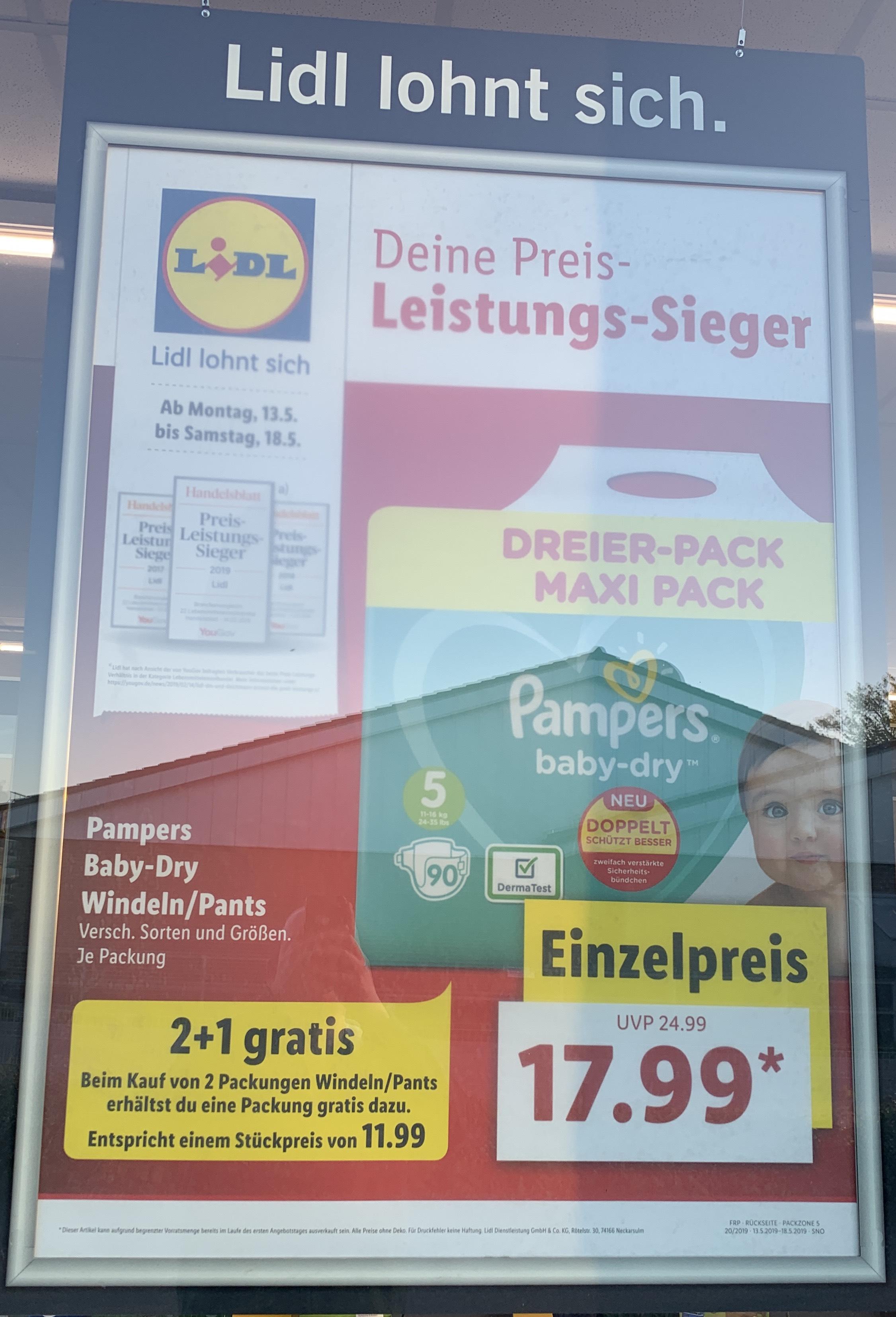 Grensdeal DE: Lidl Pampers Baby Dry