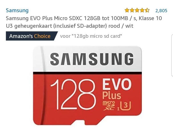 Samsung evo plus sdkaart 128GB