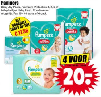 Pampers 4 voor €20 @ Dirk