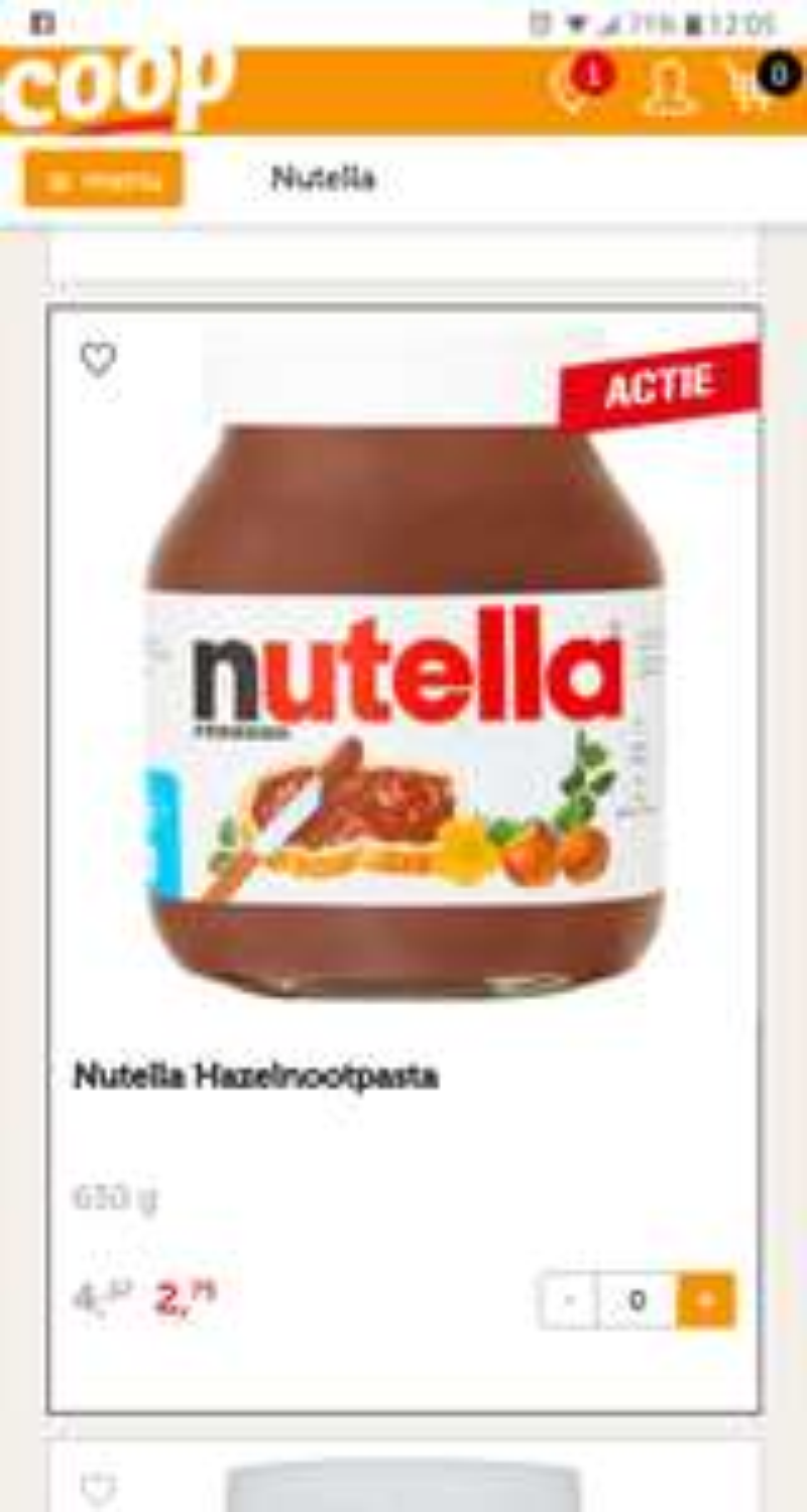 Nutella Hazelnootpasta 630gr @coop