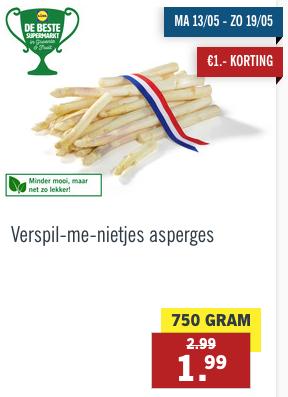 750 gram asperges voor slechts 1,99