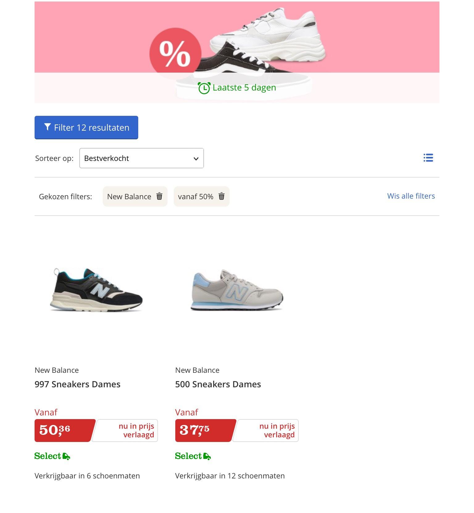 New balance dames sneakers met minimaal 50% korting bij bol.com